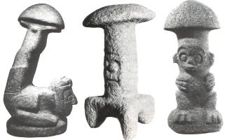 piezas arqueológicas en Centroamérica con forma de hongos